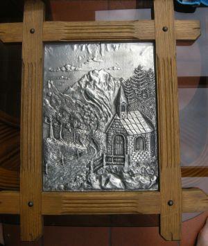 Zinn-Bild-Eichenrahmen-LandschaftMitKapelle-v-DSCN2240