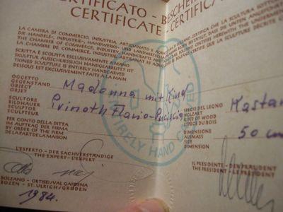 Zertifikat-Madonna Mit Kind-DSCN1197